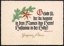C5992 - Glückwunschkarte Advent - Spruchkarte Tannenzweig - Schäfer Verlag Plauen DDR - Christianisme