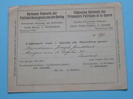 Nat. Federatie Der POLITIEKE GEVANGENEN Van Den OORLOG ( Lidkaart > Janssens Anvers > N° 196 > 1921-22 ) ! - Documents