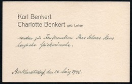 C5999 - Burkhardtsdorf - Karl Benkert Charlotte Benkert Geb. Lohse - Visitenkarten