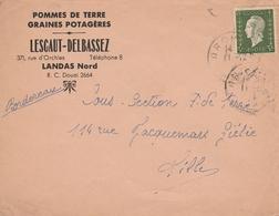694 3F. OLIVE DULAC SEUL S/ LETTRE D'ORCHIES - POMMES De TERRE / GRAINES - 1944-45 Marianne Of Dulac