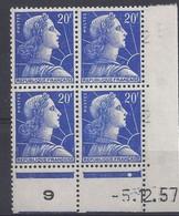 MARIANNE MULLER N° 1011B - Bloc De 4 COIN DATE - NEUF SANS CHARNIERE - 5/12/57 - 1 Point - Coins Datés