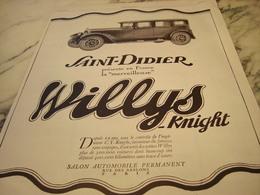 ANCIENNE AFFICHE PUBLICITE VOITURE WILLYS-KNIGHT 1927 - Publicités