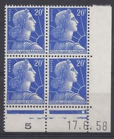 MARIANNE MULLER N° 1011B - Bloc De 4 COIN DATE - NEUF SANS CHARNIERE - 17/6/58 - 1 Point - Coins Datés