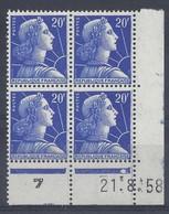 MARIANNE MULLER N° 1011B - Bloc De 4 COIN DATE - NEUF SANS CHARNIERE - 21/8/58 - 1 Point - Coins Datés