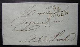 Rouen 1814 Marque Noire Sur Une Lettre Pour Le Pont De L'arche - Postmark Collection (Covers)