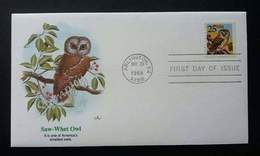 USA United States Saw-Whet Owl 1988 (Smallest Owls) 1988 Bird Birds (stamp FDC) - Stati Uniti