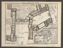 CARTE PLAN 1927 PALAIS DE FONTAINEBLEAU REZ DE CHAUSSEE Et 1er ETAGE - JARDIN DE DIANE COUR OVALE FONTAINE - Mapas Topográficas