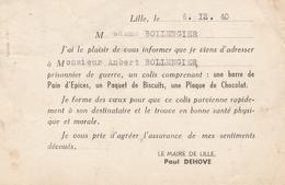 ENVOI D'UN COLIS Par Le MAIRE De LILLE à UN PRISONNIER - 12.1940 - Guerres