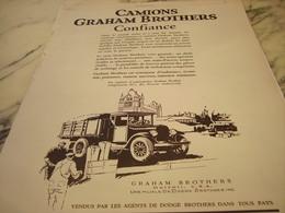 ANCIENNE PUBLICITE CONFIANCE CAMION GRAHAM BROTHERS 1927 - Trucks