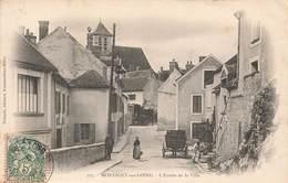 § 77 Montigny Sur Loing L' Entrée De La Ville Cpa Carte Animée Cachet 1907 - Otros Municipios