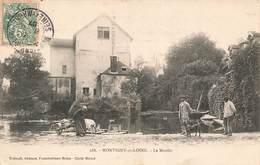 § 77 Montigny Sur Loing Le Moulin Lavandiere Lavandieres Cpa Carte Animée Cachet 1907 - Frankrijk