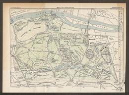 CARTE PLAN 1927 BOIS DE BOULOGNE CHATEAU DE MADRID THEATRE CATALAN CASERNES HIPPODROME - Topographical Maps