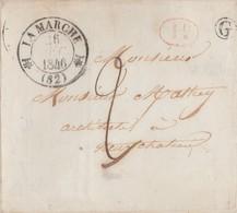 """Lettre 1846 / Beau Cachet """"fleur De Lys"""" Lamarche 88 Vosges + Cachet Boîte Rurale De St Julien 88 + Id Rouge - 1801-1848: Précurseurs XIX"""