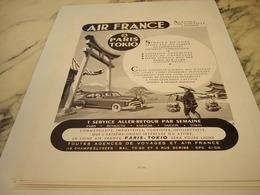 ANCIENNE PUBLICITE PARIS TOKIO  AIR FRANCE 1952 - Advertisements