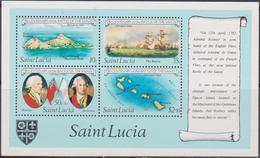 St. Lucia Map Ship Battle Of Saints Flags Set MNH - Geografia