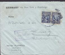 Ecuador GEORG FLEMMING, AMBATO 1925 Cover Letra HAMBURG Germany Via NEW YORK 2x Garcia Moreno - Ecuador