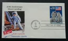 USA United States Moon Landing 20th Anniversary 1989 Astronomy Space (stamp FDC) - Stati Uniti