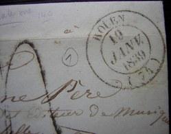 Rouen 19 Janvier 1839 Une Des Premières Dates De L Utilisation De Ce Cachet ! Voir Photos - Postmark Collection (Covers)