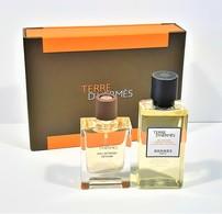 Miniatures De Parfum COFFRET  TERRE D'HERMÈS  De HERMES MINIATURE  EDT 12.5  Ml + GEL DOUCHE 40  Ml  + BOITE - Modern Miniatures (from 1961)