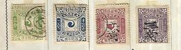 Corée ( Royaume ) 1895  Drapeaux Cat Yt N° 6,7,8, 9  Oblitérés - Corée (...-1945)