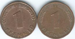 Germany - Federal - 1 Pfennig - 1948 J (KMA101) & 1978 F (KM105) - [ 7] 1949-… : RFA - Rép. Féd. D'Allemagne