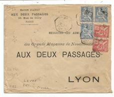 MOUCHON 25CX3+10CX2 LETTRE C. HEX LEVEE EXCEPTIONNELLE PARIS R DE CLERY 1901 TARIF 6EME - Poststempel (Briefe)