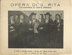 """4090 """"OPERA DI S. RITA-ROCCAPORENA DI CASCIA(PERUGIA)-TESSERA DI ASSOCIAZIONE PER L'ANNO SANTO 1950 """"  ORIGINALE - Religione & Esoterismo"""