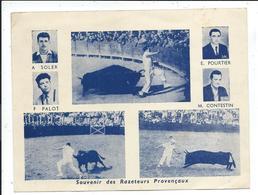 Petite Affiche 12 X 16 Cm Souvenir De Razeteurs Provençaux ,arenes , Courses Camarguaises ,manades,taureau - Old Paper
