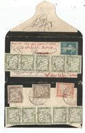 TAXE 2FR ORANGE RARE +10C YONNE 1910 MIGNONETTE SMALL COVER SEMEUSE 5C + TAXE 20CX10+10C RARE - Postmark Collection (Covers)