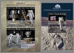 SAO TOME 2019 MNH Apollo 11 Man On Moon Space Raumfahrt Espace M/S+S/S - OFFICIAL ISSUE - DH1913 - Afrika