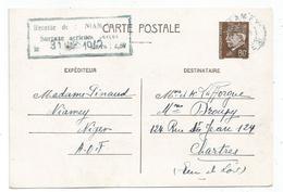 ENTIER 80C PETAIN CP NIAMEY NIGER 31 MARS 1942 + SUTAXE AERIENNE PERCUE RECETTE RARE - Entiers Postaux