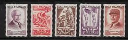 France  Timbres De 1943 N°576 A 580  Neuf * - France