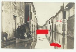 LANGON Carte Photo 2  Inondation  Garonne Rue Du Baron Canot L'epervier  Restaurant Debit De Vins - Langon