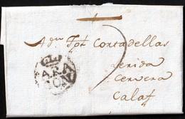 """1794. HUESCA A CALAF. MARCA """"ARA/GON"""" CORONADA RECERCADA NEGRO. PORTEO MNS. """"7"""" CUARTOS. INTERESANTE CARTA COMPLETA. - España"""