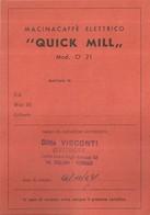"""4093 """"MACINACAFFE' ELETTRICO QUICK MILL-ISTRUZIONI PER L'USO E RICETTARIO-1957-32 PAGINE+COPERTINE""""  ORIGINALE - Other"""