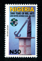 Nigeria 2010 Mnh Mi. 848 WITH Circular Circulaire Hologramm Hologramme Hologram Definitive 2000 Years Of Nigerian Arts - Nigeria (1961-...)