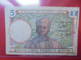 AFRIQUE FRANCAISE 5 FRANCS 1941 CIRCULER (B.2) - Congo