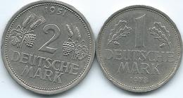 Germany - Federal - 1 Deutsche Mark - 1978 D (KM110) & 2 Deutsche Mark - 1951 J (KM111) - [ 7] 1949-… : FRG - Fed. Rep. Germany