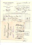 FACTURE + TRAITE FERNAND DAGNEAUD VINS à SAINT-LOUBES GIRONDE 1928 - France