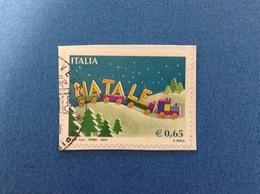 2010 ITALIA FRANCOBOLLO USATO STAMP USED NATALE TRENINO 0,65 - 6. 1946-.. Repubblica
