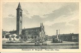 Sannazzaro De' Burgondi (Pavia) Piazza Della Chiesa, Chiesa E Monumento Ai Caduti - Pavia