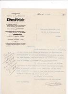 Courrier 1918 L'Ouest-Eclair, Rennes, Rue De La Bourse, Paris, à Lucien Foucauld & Cie, Distillateur, Cognac - Drukkerij & Papieren