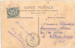 SUR CPA CAYLUS Circulé ST PIERRE TOIRAC  - OBLITERATION BOITIER FACTEUR SUR MOUCHON + MARQUE OR CERCLE NOIR - 1877-1920: Semi Modern Period