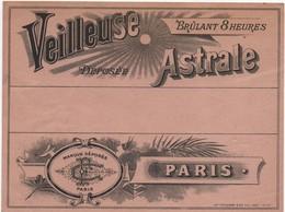Etiquette/Veilleuse Astrale/ Brûlant 8 Heures /Marque Déposée/ C F /PARIS/Vieillemard/ Vers 1910-1930      ETIQ166 - Altri