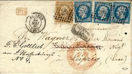1860- Enveloppe D'Avignon ( Vaucluse ) Cad T15  Affr. N°14 X 3 + N°13 Oblit. Pc 209 Pour LEIPZIG ( Saxe ) - Marcophilie (Lettres)