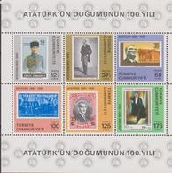 Turchia Turkey - Ataturk Stamp On Stamp Sheet MNH - 1921-... Repubblica