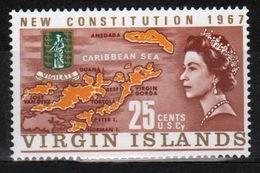 British Virgin Islands 1967 Queen Elizabeth Single 25 Cent Stamp From The New Constitution Set. - British Virgin Islands