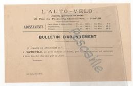 1900 BULLETIN D'ABONNEMENT A L'AUTO-VELO - 14 X 22 Cm ENVIRON - Publicités