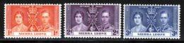 Sierra Leone 1937 Yvert 155 / 157 ** TB Bord De Feuille - Sierra Leone (...-1960)