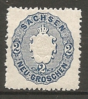 SAXE - Yv. N° 16 Mi N°17  *  2 N   Bleu  Armoirie Cote  2,5 Euro  BE   2 Scans - Saxe
